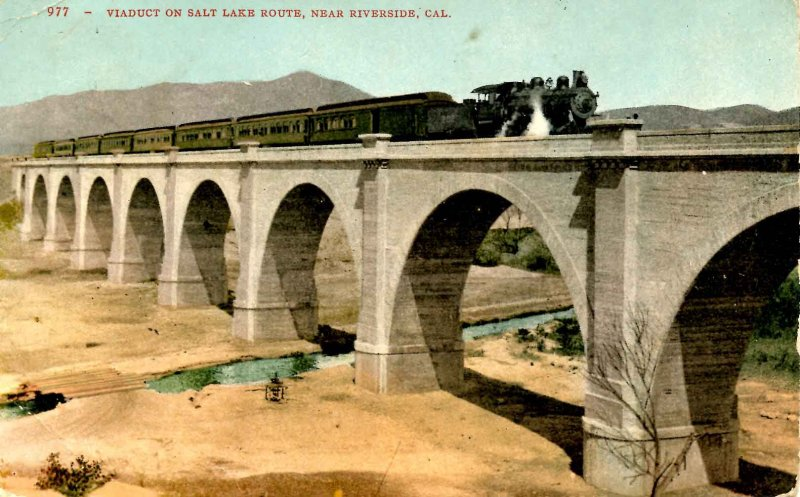CA - Riverside. Viaduct on Salt Lake Route, Train
