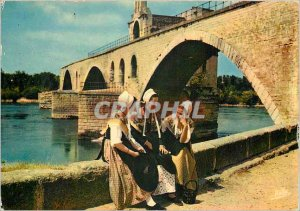 Postcard Modern Avignon Vaucluse Young Comtadines and the Pont d'Avignon Folk...