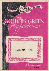 All My Sons Arthur Miller Drama Golders Green Theatre Programme