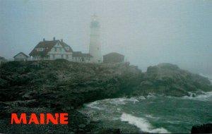 Maine Portland Head Lighthouse In The Fog