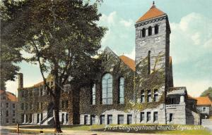 Elyria Ohio~First Congregational Church~Vines on Walls~c1910 Postcard