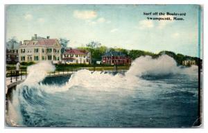 1913 Surf Off the Boulevard, Swampscott, MA Postcard