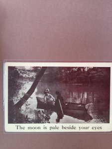 Romantic Vintage Postcard Couple in a Rowboat in River Sepia Tones Black/White