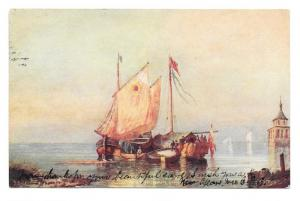 Italy Bay of Naples Napoli Painting Vtg UDB 1907 Postcard