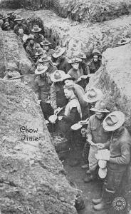 WWI France~US Military~Chow Time in the Trenches~Kavanaugh War Postal~1917 PC