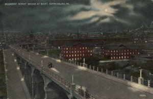 NEW MULBERRY STREET BRIDGE at NIGHT Harrisburg Vintage Postcard Pennsylvania
