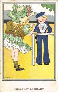 Chocolat Lombart Advertising 1908 minimal wear on corners, yellowing on card ...
