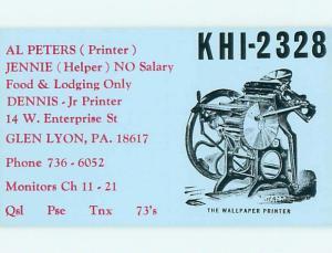 comic - QSL CB HAM RADIO CARD Glen Lyon Pennsylvania PA t9718