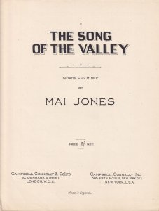 The Song Of The Valley Mai Jones Olde Sheet Music