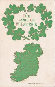 Saint Patrick's Day Greetings With Map Of Ireland and Clover 1909