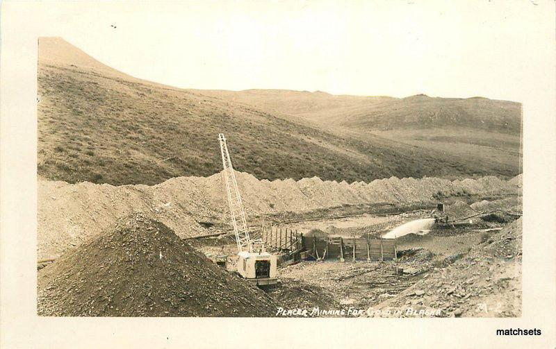 1940s Placer Mining Gold Alaska RPPC Real photo postcard 11923