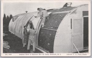Military, WWII, Seabees Erect a Quonset Hut at Camp Endicott, R.I. US Navy Photo