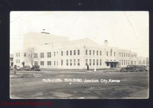 RPPC JUNCTION CITY KANSAS DOWNTOWN CITY HALL 1930's CARS REAL PHOTO POSTCARD