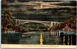 1913 Pittsburg, PA Postcard Lake in Panther Holley, SCHENLEY PARK Boating Moon