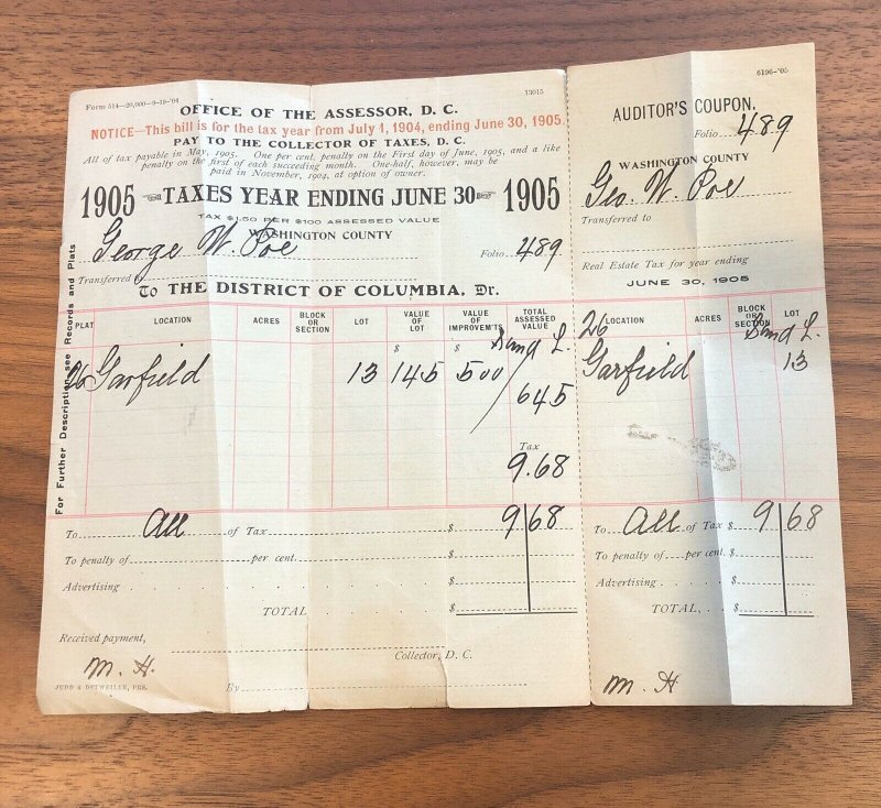 1905 - WASHINGTON DC - GEORGE POE - BILL SALE TAXES - VINTAGE PAPER