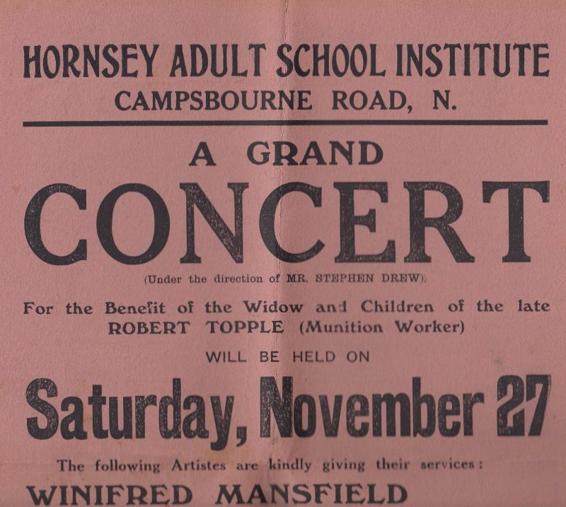 Winifred White Mansfield Ventriloquist War 1900s Hornsey Concert School Poster