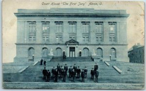 Akron, Ohio Postcard SUMMIT COUNTY COURT HOUSE The First Jury c1910s