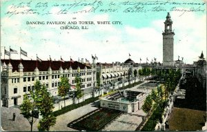 Vtg Postcard 1908 Dancing Pavilion and Tower White City - Chicago Illinois