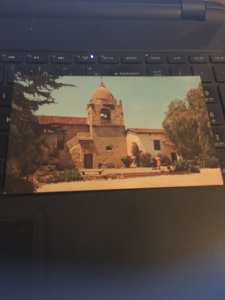 Vintage Postcard Mission Bell Tower and Courtyard, Carmel Mission CA