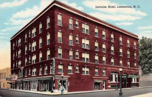 Lumberton North Carolina~Lorraine Hotel~Store Display Windows~1945 Postcard