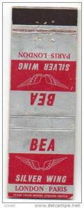 Matchbook cover- BEA British European Airlines Silver Wing