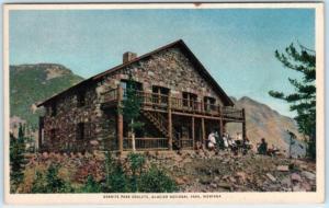 GLACIER NATIONAL PARK, Montana MT   GRANITE PARK CHALETS c1940s Linen   Postcard