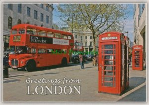 London Postcard - Red London Bus and Telephone Box   RR10388