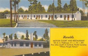 SANFORD NC HAROLD'S MOTOR COURT & DINER RESTAURANT POSTCARD c1940s
