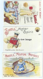 su3256 - Shell Motor Spirit, Seaside,Suffragette, and Mechanic - 3 postcards