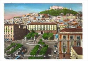 RP, Piazza Municipio e Castel S. Elmo, Napoli (Campania), Italy, PU-1955