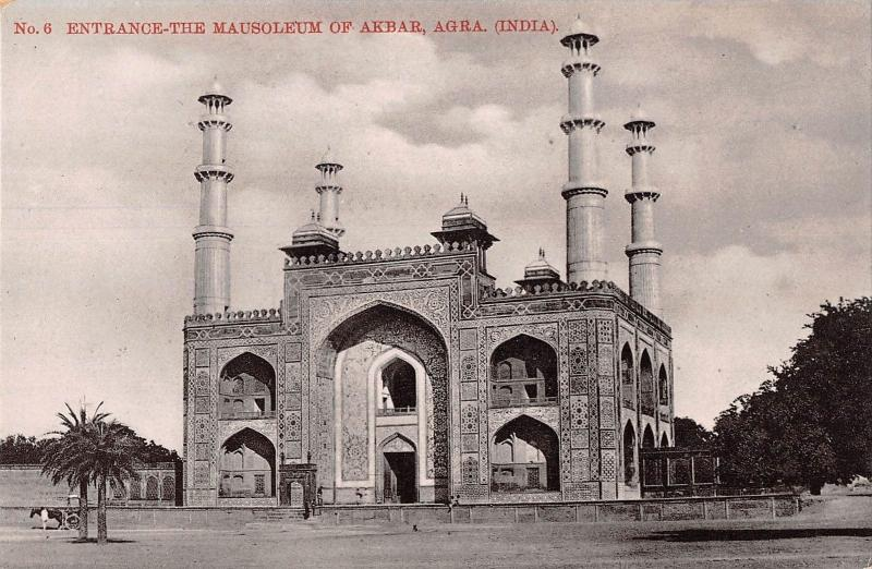 B96287 entrance the mausoleum of akbar  agra real photo    india