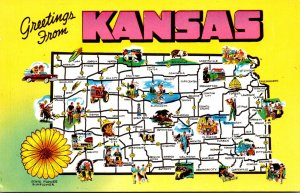 Map Of Kansas The Sunflower State With State Flower The Sunflower