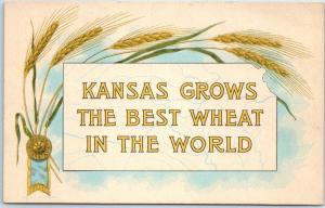 Vintage Kansas Postcard KANSAS GROWS THE BEST WHEAT IN THE WORLD c1910s Unused