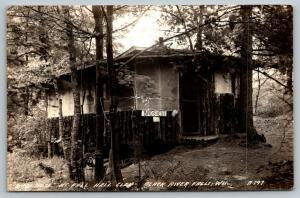 Black River Falls Wisconsin~Fall Hall Glen~Birds Nest Log Cabin~1940s RPPC