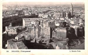 Spain Old Vintage Antique Post Card Vista General Malaga 1947
