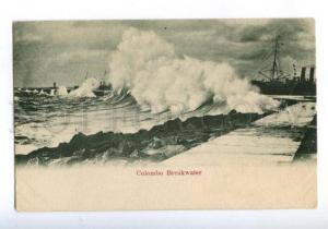 173992 CEYLON Colombo Breakwater Vintage postcard