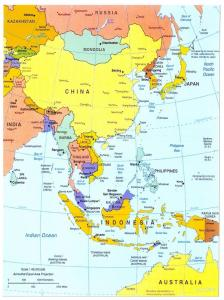 Giant Postcard Map of East Asia, China, Japan, Korea 8x6inch 203x152mm OS98