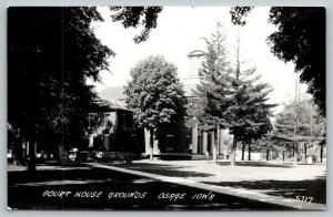Osage Iowa~Mitchell County Court House Grounds~Old Fellas on Steps~1950s RPPC