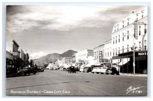 Postcard Business District, Canon City, CO Coors Beer REX Hotel 1950+ RPPC H13
