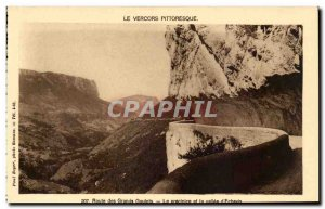 Vercors Old Postcard Route major bottlenecks and the precipice of the valley ...