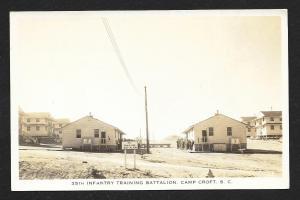 35th Infantry Training Battalion Camp Croft SC RPPC Used 1942