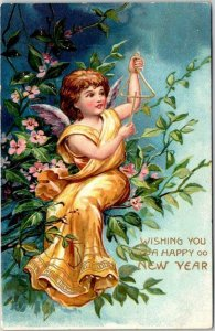 Vintage 1910s HAPPY NEW YEAR Embossed Postcard ANGEL Ringing Golden Triangle