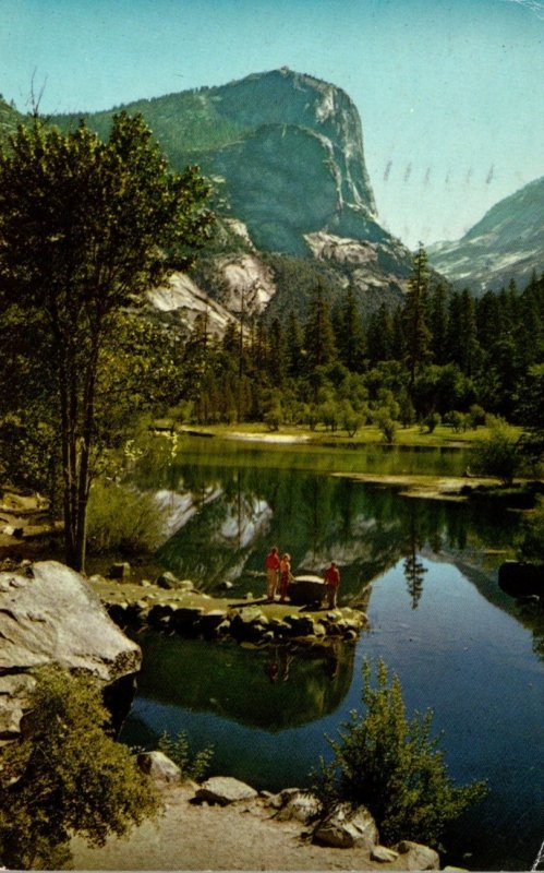 California Yosemite National Park Mirror Lake and Mt Watkins 1965