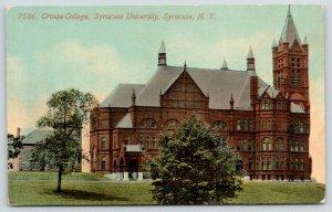 Syracuse New York~Syracuse University~Crouse College Building~1908 Postcard