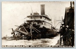 Toledo OH RPPC~Camera Hog Boys~Steamer Yuma Barges Cherry Street Bridge~1908