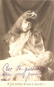 Pretty little girl with her doll Lovely old vintage French postcard