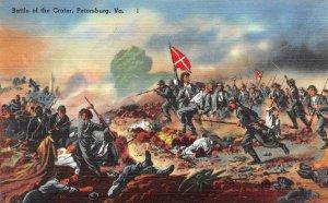 USA Linen c1940s Postcard Battle of the Crater Petersburg Virginia Civil War BB5