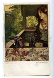 150273 ART NOUVEAU Belle balcony by Walter HAMPEL vintage PC