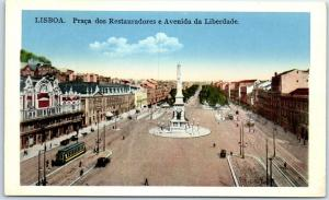 Lisboa Lisbon Portugal Postcard Avenida da Liberdade Bird's-Eye View Restaurants