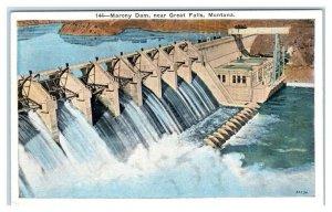 GREAT FALLS, MT Montana ~ View of MARONY DAM c1930s Cascade County  Postcard
